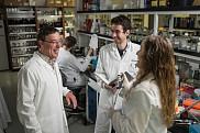 Le professeur Perreault avec des étudiantes et étudiants de son laboratoire de recherche.