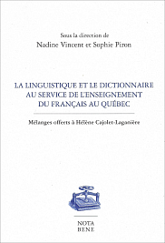 <em>La linguistique et le dictionnaire au service de l'enseignement du fran&ccedil;ais au Qu&eacute;bec. M&eacute;langes offerts &agrave; H&eacute;l&egrave;ne Cajolet-Lagani&egrave;re</em>, sous la direction de Nadine Vincent et Sophie Piron,&nbsp;<span>&Eacute;ditions Nota bene, </span> <span>Collection Bleue, </span> <span>2018, </span><span>444 p.</span>