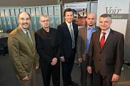 <p>De gauche &agrave; droite : Jacques Beauvais, vice-recteur &agrave; la recherche, &agrave; l&rsquo;innovation et &agrave; l&rsquo;entrepreneuriat, Michel Dostie, responsable du LTE Shawinigan &ndash; &nbsp;Hydro-Qu&eacute;bec, Patrik Doucet, doyen de la Facult&eacute; de g&eacute;nie, S&eacute;bastien Poncet, titulaire de la Chaire de recherche du CRSNG en efficacit&eacute; &eacute;nerg&eacute;tique industrielle et Mikhail Sorin, chercheur principal du Programme de recherche CRSNG RDC.</p>