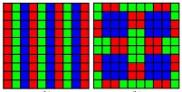 &Agrave; gauche, la mosa&iuml;que utilis&eacute;e dans les appareils de t&eacute;l&eacute;vision (Vertical Stripes TV Mosaic) et &agrave; droite, celle inspir&eacute;e de l'oeil du poisson (Burtoni Mosaic). Cette derni&egrave;re optimise la reproduction des couleurs.<br>
