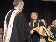 Pierre Cossette a vécu de grandes émotions pour sa première séance universitaire de remise de doctorat honorifique en tant que recteur de l'UdeS