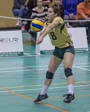 La lib&eacute;ro de l'&eacute;quipe f&eacute;minine de volleyball Vert &amp; Or, Joanie Whittom.<br>