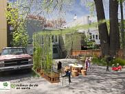 Image de synth&egrave;se pr&eacute;sentant le projet d'un espace collectif dans une ruelle.&nbsp;<br>Illustration: Marie-Christine Mathieu, Nature Qu&eacute;bec