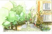 Aquarelle repr&eacute;sentant une ruelle verte. <br><br>Illustration : Marie-Christine Mathieu