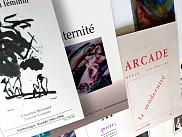 Diverses couvertures de la collection compl&egrave;te de la revue <em>Arcade</em>.