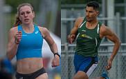 Maïté Bouchard etYassine Aber de l'équipe d'athlétisme du Vert & Or de l'Université de Sherbrooke.