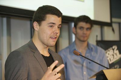 Bruno Renaud, président de l'événement Door2trail, et Adrien Bourdon, vice-président des Jeux du commerce.