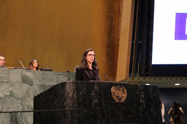 Mariane Hamel représentante, comme déléguée, la délégation de la Faculté de droit de l'Université de Sherbrooke au NMUN.