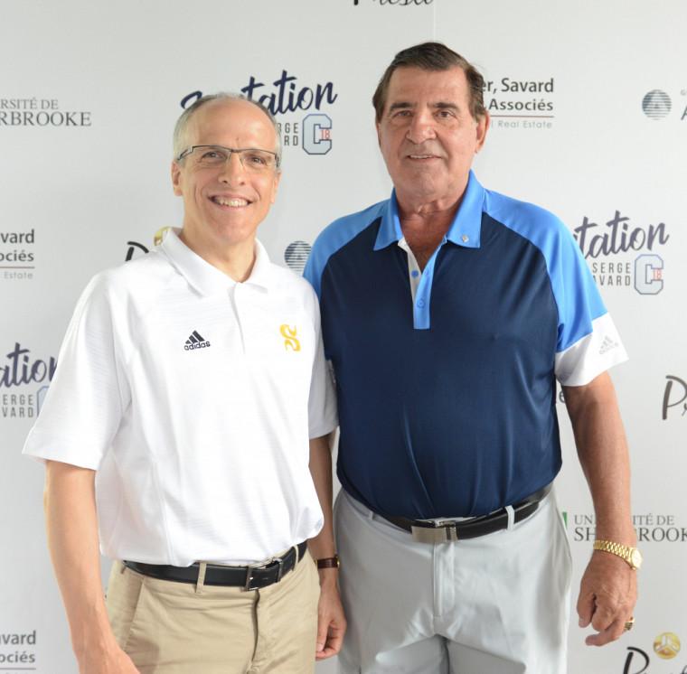 Le Pr Pierre Cossette, recteur de l'UdeS, et Serge Savard, ancien capitaine et ex-directeur général des Canadiens de Montréal et président de la Corporation études-sports de l'UdeS.