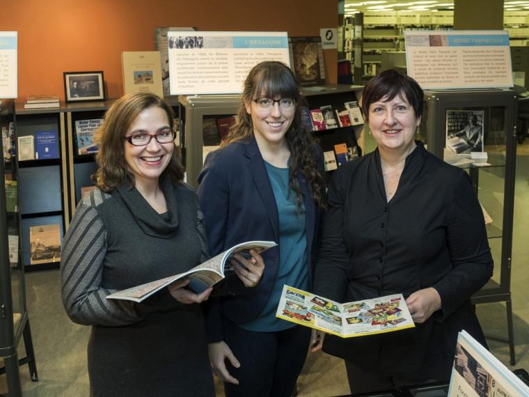 De gauche à droite : Marie-Pier Luneau, spécialiste de l'histoire de l'édition littéraire au Québec; Kristina Bernier, étudiante à la maîtrise en études françaises; Julie Fecteau, archiviste.