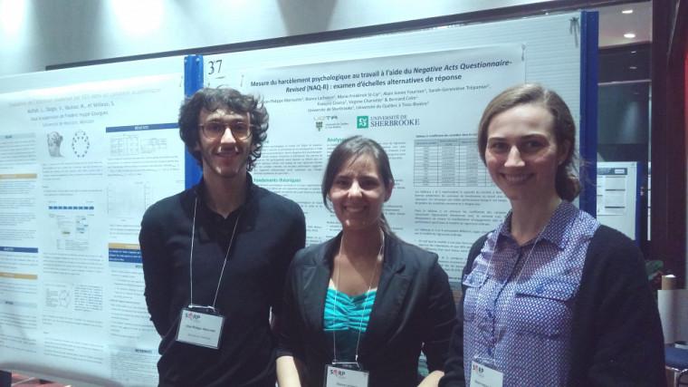Jean-Philippe Morissette, Bianca Lachance et Marie-Frédérick St-Cyr, lors du40e congrès de la Société québécoise pour la recherche en psychologie.