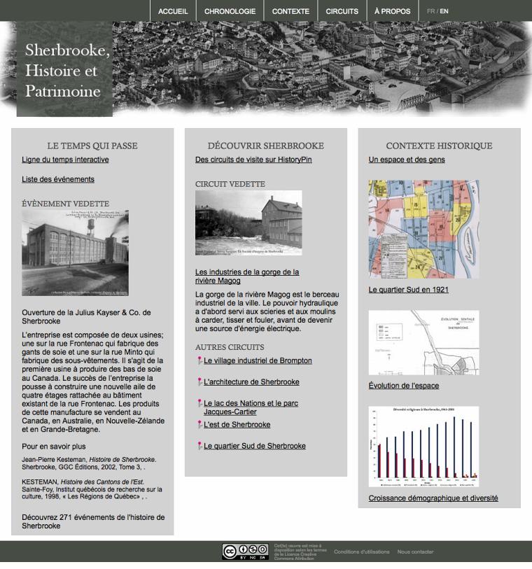 Sherbrooke, histoire et patrimoine, portail d'accueil du site