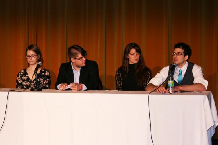 Camille Gauthier, Félix-Antoine Têtu, Virginie Cogné et Louis-Philippe Daniel, lors du lancement du projet, le 1ermai, au Théâtre Granada.
