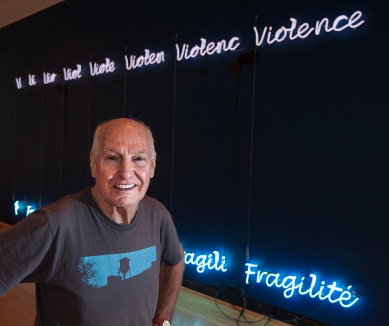 André Fournelle, Violence/Fragilité, 2014. Tubes de néon blanc et bleu, 8 fils à plomb, 3 x 8 m.