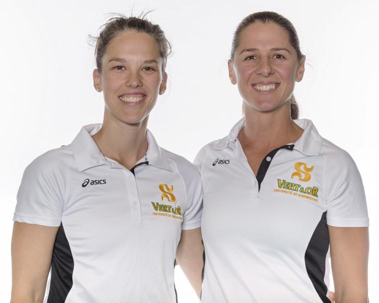 Le duo d'entraîneures du Vert & Or en volleyball féminin formé d'Annie Lévesque et Annie Martin.