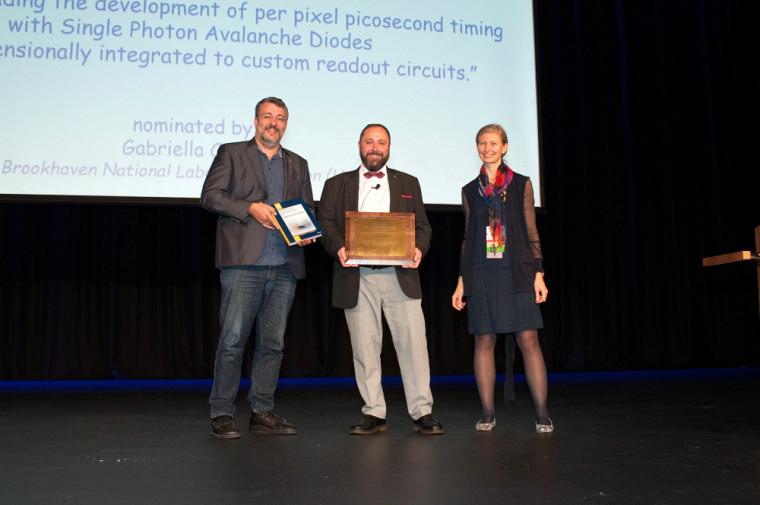 Jean-François Pratte, lors de la remise du Prix2018 Radiation Instrumentation Early Carrier Award.
