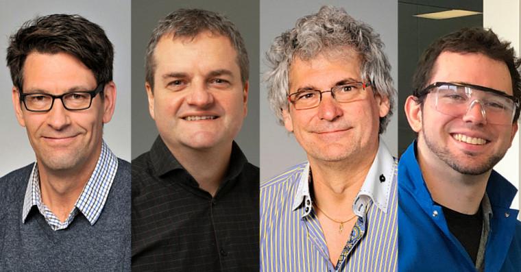 De gauche à droite: Prs Martin Lepage, Martin Audet, Robert Dumaine et Philippe Dauphin-Ducharme