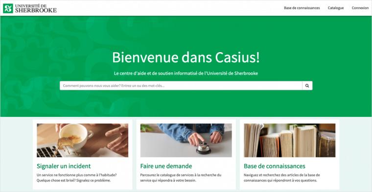 Nouvelle interface du portail de services Casius