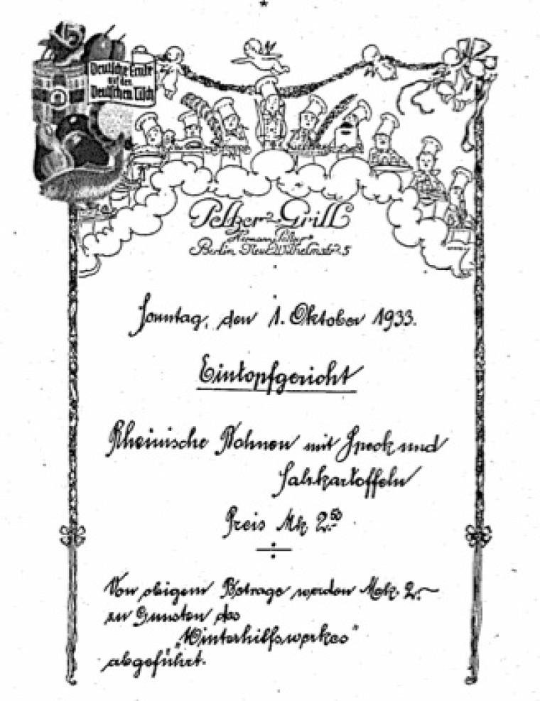 Sur ce menu figure «l'eintopf», un ragoût typiquement allemand dans lequel on mélange les restes de nourriture.