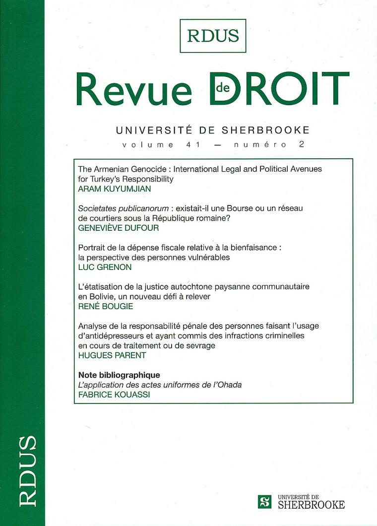 Revue de droit de l'Université de Sherbrooke, vol.41, no2, Les Éditions Revue de droit, Université de Sherbrooke, 2012, 274p.