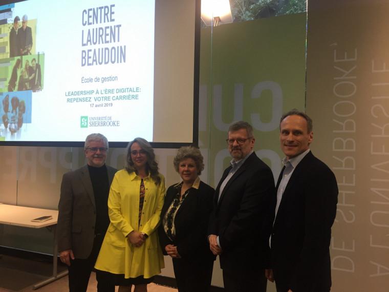 (De gauche à droite): Pr Mario Roy, Pre Nathalie Cadieux, Pre Sylvie Berthelot, Pr Jacques Baronet et Pr Jean Roy