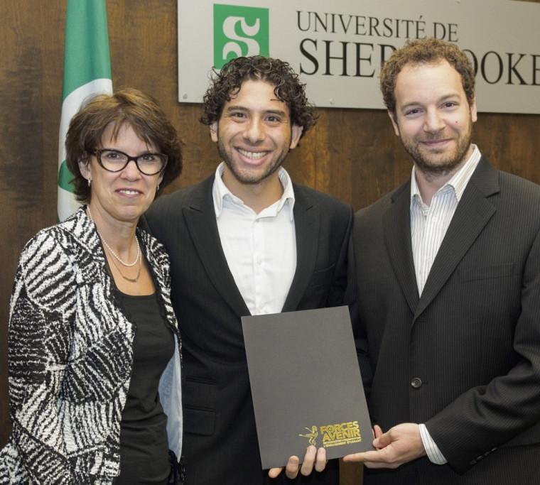Rami Jarjour et Philippe Beauchamp, fondateurs d'IngéniArts, en compagnie de la rectrice Luce Samoisette