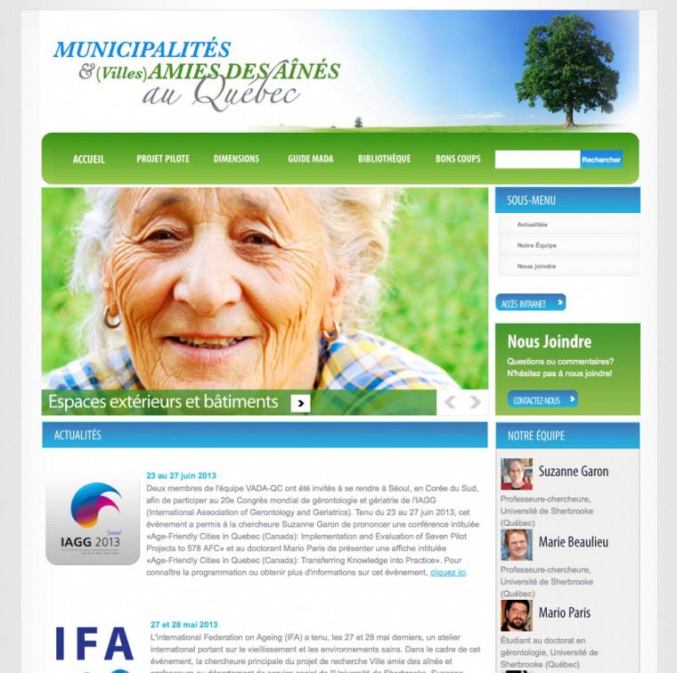 Le Centre de recherche sur le vieillissement a mis en place un site Internet pour accompagner les municipalités et les villes dans leur démarche ami des aînés et pour présenter les plus récentes actualités sur le sujet.