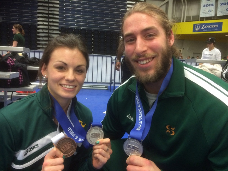 Les médaillés du Vert & Or Laurence Beaudet et Marc-Antoine Lafrenaye-Dugas.