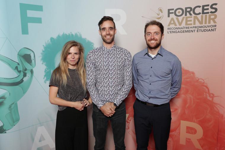 Les membres du projet Concours Createk - J.R. André Bombardier, Valérie Grandbois, Patrick Dubois et Nicolas Brissette, finalistes dans la catégorie Société, communication et éducation.