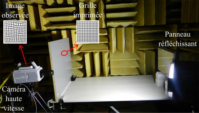 Image d'un montage de déflectométrie réalisé au GAUS.