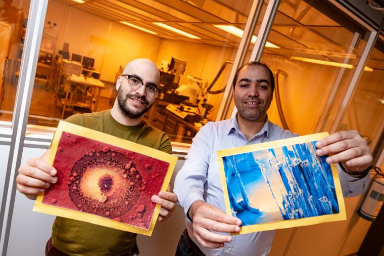 Les deux finalistes du concours La preuve par l'image, Yosri Ayadi et Ahmed Chakroun, chercheurs postdoctoraux respectivement au 3IT et chez IBM à Bromont.