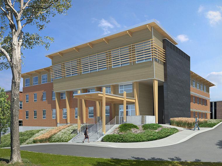 Le futur pavillon a été conçu par l'architecte Raymond Gautier, assisté par l'architecte François Coutu, de la firme Espace vital, pour le volet LEED.