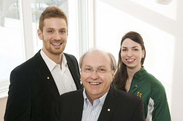 Les trois coprésidents d'honneur de l'événement-bénéfice Louis-José Houde: Jean-Philippe Shoiry, Serge Audet et Pascale Délisle