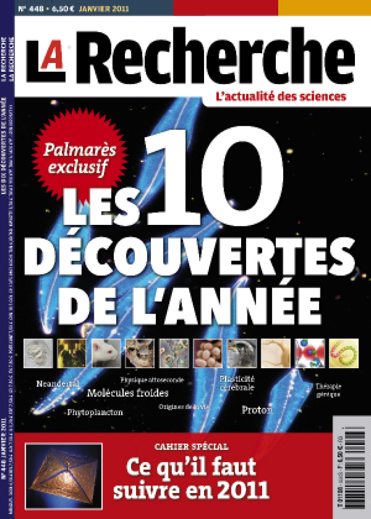 Couverture de LaRecherche avec le palmarès des 10découvertes de l'année2010.