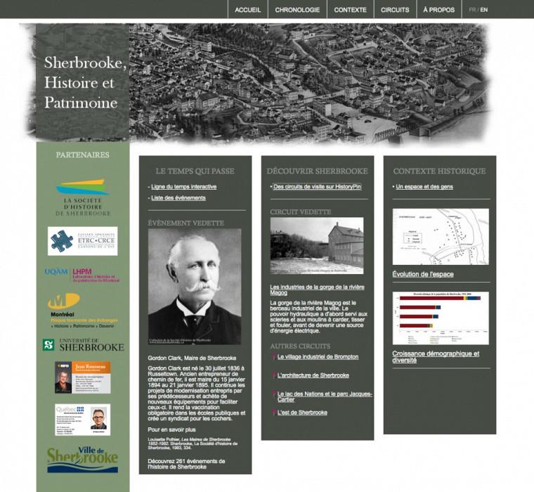 Sherbrooke, histoire et patrimoine, portail d'accueil du site www.sherbrooke.technohistoire.info