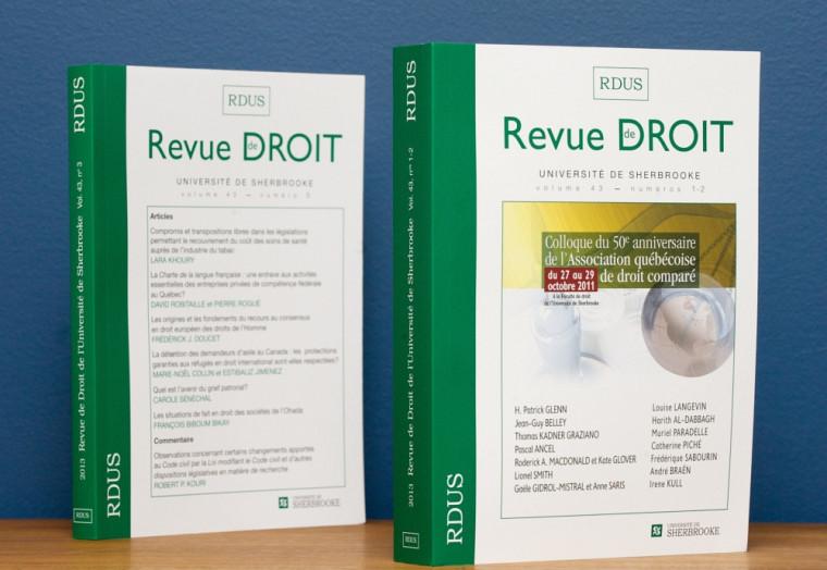Revue de droit de l'Université de Sherbrooke, vol.43, nos1-2 (à gauche) et no3 (à droite), Les Éditions Revue de droit, Université de Sherbrooke, 2014.