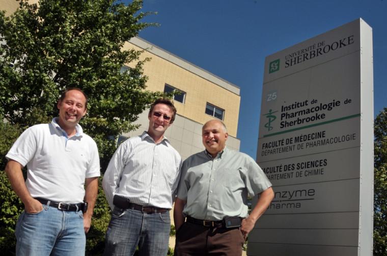 L'équipe de direction de l'IPS, professeurs Philippe Sarret, Éric Marsault et Robert Day.