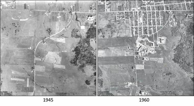 Évolution de l'Université de Sherbrooke et de son quartier entre 1945 (photo A9457-112) et 1960 (photo R6017-178).