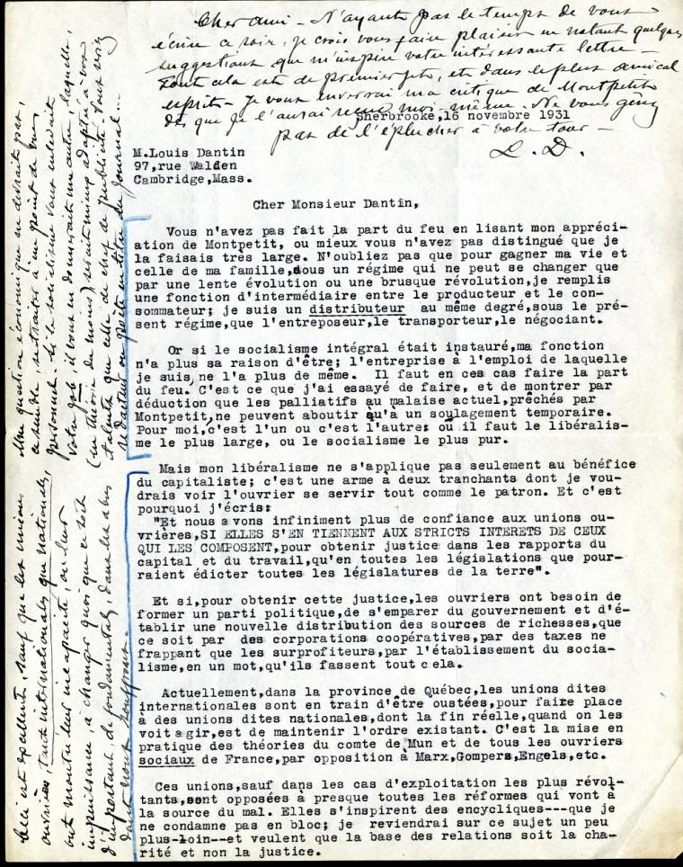 Louis Dantin annotait les textes d'Alfred DesRochers de sa fine calligraphie.