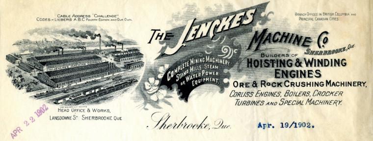 Papier à en-tête de la Jenckes Machine Company, extrait (19 avril 1902). Graveur inconnu.