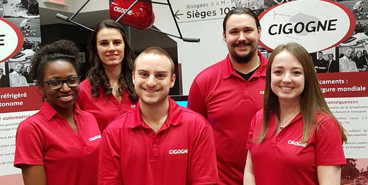 Des membres passionnés forment l'équipe de Cigogne Technologies et ont grandi à travers cette expérience entrepreneuriale.Photo d'archives, prise avant l'entrée en vigueur des mesures sociosanitaires actuelles.