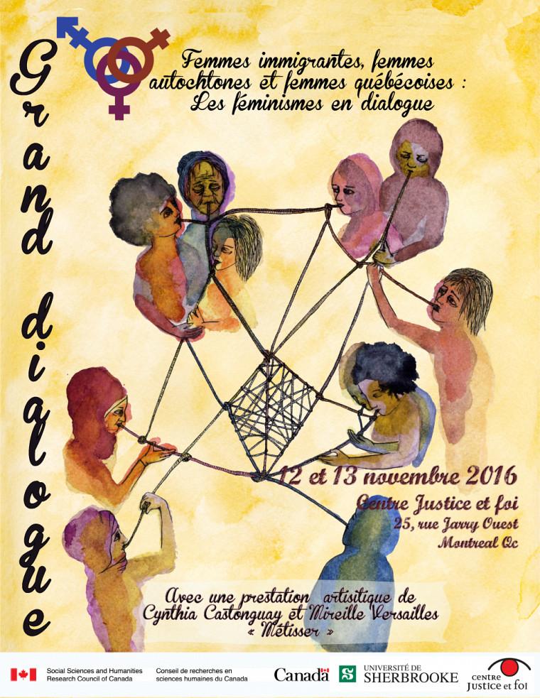 Affiche annonçant le Grand dialogue, destiné à rapprocher des femmes de tout horizon
