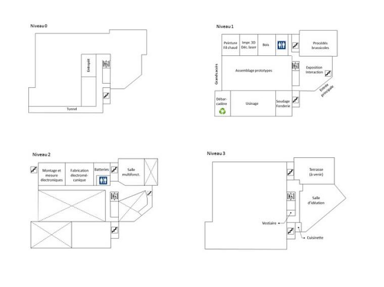 Le Studio de création sera sur 3 niveaux. Voici de façon générale comment la répartition des espaces a été pensée.