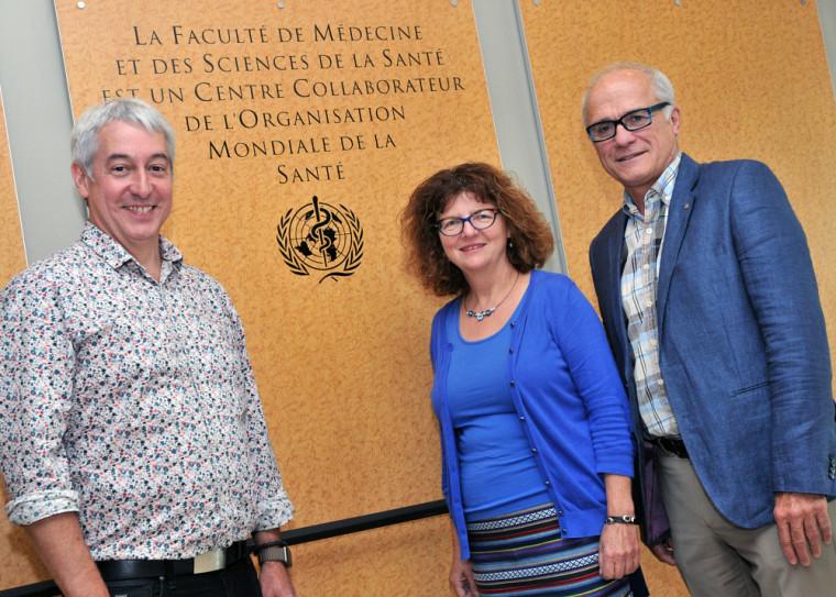 Pr Dominique Dorion, doyen de la FMSS, Pre Martine Morin, directrice du Centre collaborateur et Pr Paul Grand'Maison, directeur-adjoint du Centre collaborateur.