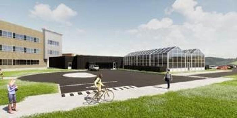 Illustration des serres et du bâtiment qui les abritera, réalisée parEspace Vital Architecture