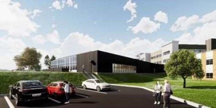 Illustration du futur bâtiment D-10 abritant les serres, réalisée par Espace Vital Architecture
