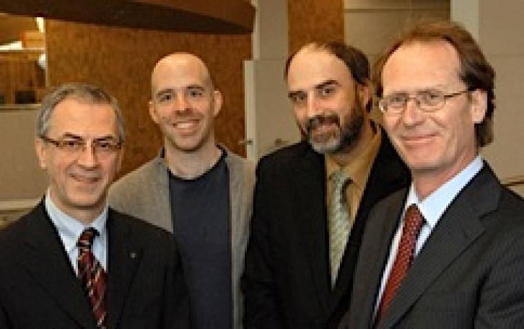 Denis LeBel (UdeS) et Benoit-Antoine Bacon (Université Bishop's), coprésidents du comité scientifique; Jacques Beauvais (UdeS) et Michael Childs (Université Bishop's), coprésidents du comité organisateur.