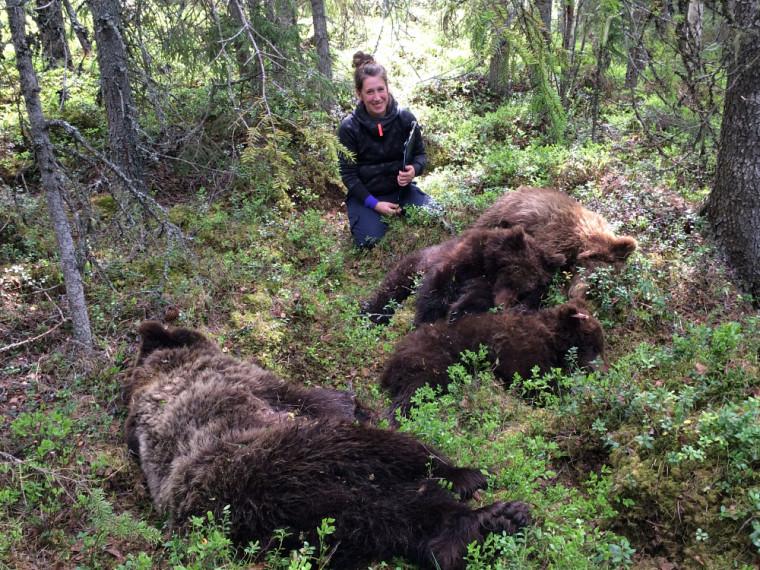 Joanie Van de Walle en études sur le terrain, en Suède.