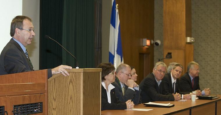 Mario Laforest, directeur de l'Agence des relations internationales de l'UdeS, à l'ouverture des 3esRencontres Sherbrooke-Montpellier.