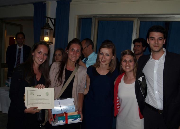 Catherine Pariseault et Karine Thériault, accompagnées des trois étudiants de Montpellier qui complétaient leur équipe: Alissa Meunier, Lucie Delorme et Adrien Nieto.